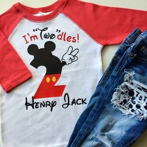 Other - I'm Twodles Mickey Birthday Raglan Tee (Red)